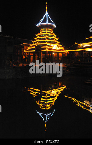Drum Tower at night, Zhaoxing Dong Village, Liping County, Guizhou Province, China - Stock Photo