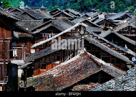 Zhaoxing Dong Village, Liping County, Qiandongnan Miao and Dong Autonomous Prefecture, Guizhou Province, China - Stock Photo