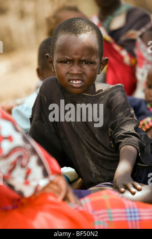 Maasai Child - Maasai Village near Masai Mara National Reserve, Kenya - Stock Photo