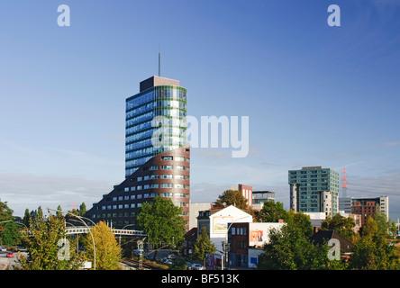 Modern office tower Channel, Channel Harburg, Harburg Hafen port district of Harburg, Hamburg, Germany, Europe - Stock Photo