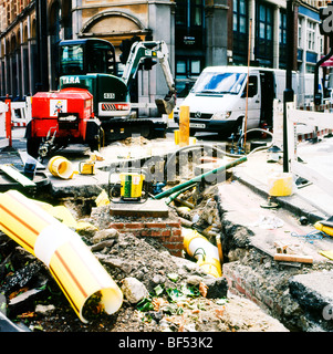 New Victorian replacement Thames Water pipeline construction in Central London summer 2009 England UK - Stock Photo