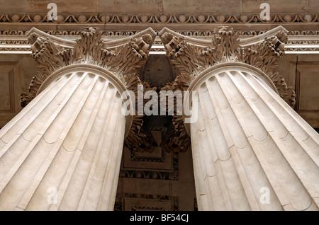 Corinthian column capitals at St. Paul's Cathedral, St. Paul's Churchyard, London, England, United Kingdom, Europe - Stock Photo