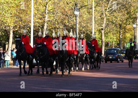 Household Cavalry, The Mall, Westminster, London, England, U.K. - Stock Photo
