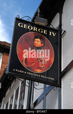 Pub sign, George IV, Bore Street, Lichfield, Staffordshire, England, United Kingdom, Europe - Stock Photo
