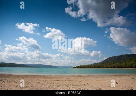 View across Lac de Sainte Croix, Provence, France, Europe. - Stock Photo