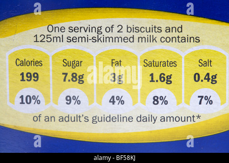 percentage of guideline daily amount food label on a box of breakfast cereal in the uk - Stock Photo