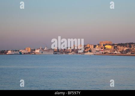 Skyline of Palma de Mallorca in the morning sun, Mallorca, Majorca, Balearic Islands, Mediterranean Sea, Spain, - Stock Photo