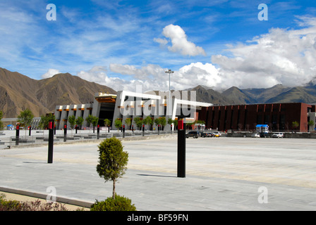 Modern Tibetan architecture, railway station in Lhasa, Himalayas, Tibet Autonomous Region, People's Republic of - Stock Photo