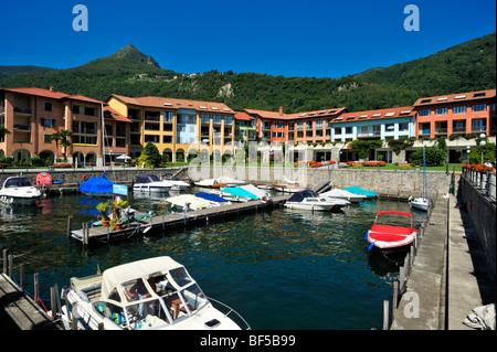 Marina with Hapimag Hotel, Lago Maggiore lake, Cannero Riviera, Piedmont, Italy, Europe - Stock Photo