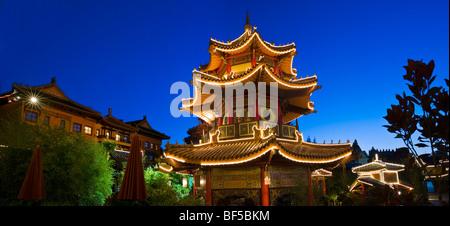 Pagoda, souvenir shop in Chinatown, Phantasialand amusement park, Bruehl, Nordrhein-Westfalen, Germany, Europe - Stock Photo