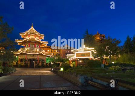 Pagoda, souvenir shop in Chinatown, Phantasialand, Bruehl, Nordrhein-Westfalen, Germany, Europe - Stock Photo