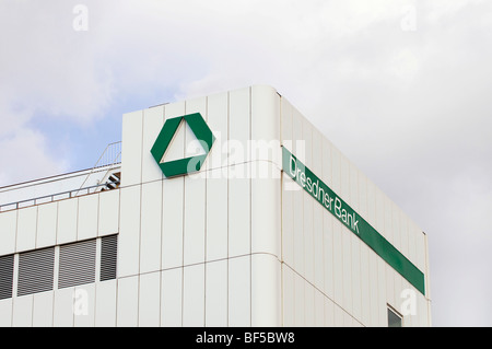 Dresdner Bank logo and signage on a commercial building, Duisburg, North Rhine-Westphalia, Germany, Europe - Stock Photo