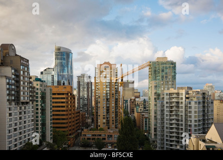 High-rise buildings and construction crane, Downtown Vancouver, British Columbia, Canada - Stock Photo