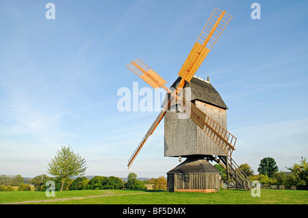 Post windmill, open-air museum, Westphalian State Museum for Ethnology, Detmold, North Rhine-Westphalia, Germany, - Stock Photo