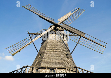 Dutch-style windmill, open-air museum, Westphalian State Museum for Ethnology, Detmold, North Rhine-Westphalia, - Stock Photo