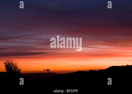 Sunset from Whiteshill near Stroud looking towards the Severn Valley - Stock Photo