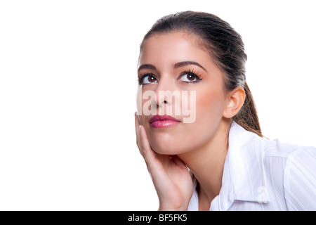 Attractive brunette businesswoman thinking about something, white background. - Stock Photo