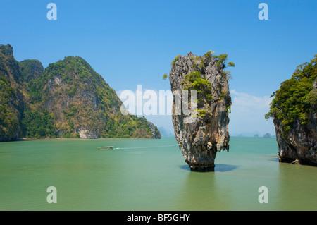 James Bond Rock in the Phnag Nga Bay, Thailand, Asia - Stock Photo