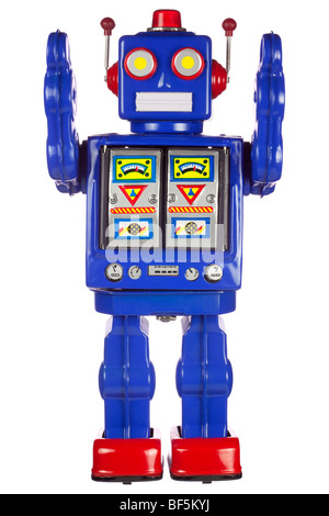 Old tin robot on white background - Stock Photo