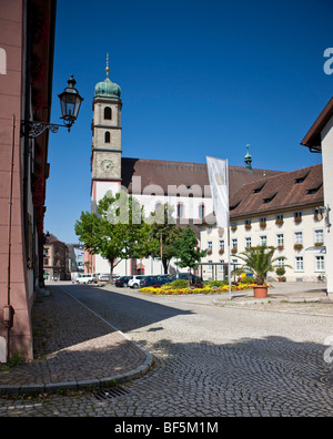 Fridolin Minster, cathedral square, Bad Saeckingen, Waldshut district, Baden-Wuerttemberg, Germany, Europe - Stock Photo