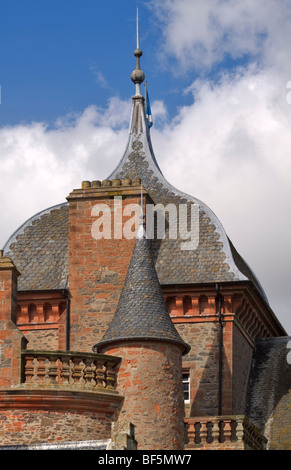 Ogee roof and turreted towers of Thirlestane Castle, Lauder, Scotland - Stock Photo