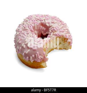 Iced Doughnut with bite taken out - Stock Photo