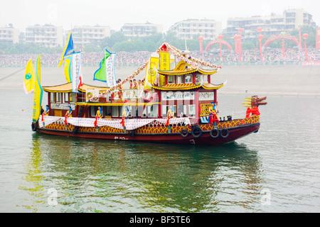 Dragon boat on Yangtze River, Yichang City, Hubei, China - Stock Photo