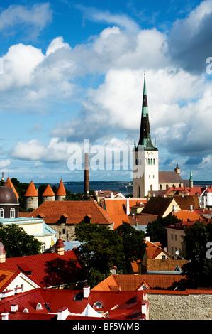 View of St Olav's Church and surrounding rooftops, Tallinn, Estonia - Stock Photo