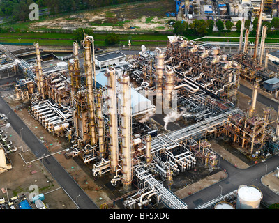 An aerial view of an oil refinery - Stock Photo