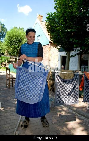 Woman Laundry Enkhuizen Zuiderzeemuseum Netherlands Zuiderzee museum - Stock Photo