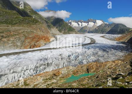 Aletsch Glacier, UNESCO World Heritage Site Jungfrau-Aletsch-Bietschhorn, Goms, Valais, Switzerland, Europe - Stock Photo