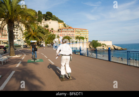 Promenade des Anglais, In Line Scater, Nice, Cote D Azur, Provence, France - Stock Photo