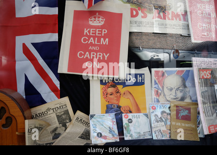 British World War II memorabilia in a shop window - Stock Photo