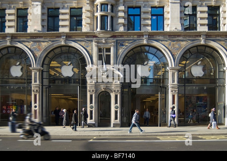 Exterior frontage of The Apple Store in Regent Street, central London - Stock Photo