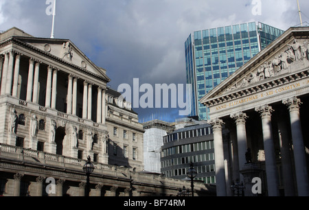 The Bank of England & Royal Exchange in the City of London, England, U.K. - Stock Photo