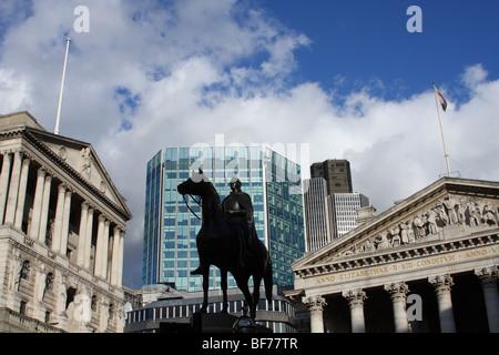 Bank of England & Royal Exchange in the City of London, England, U.K. - Stock Photo