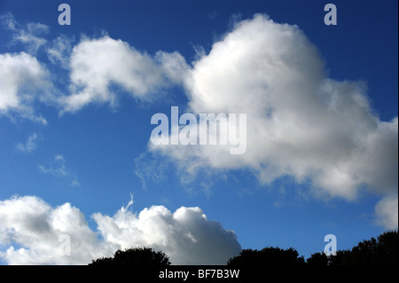 White clouds gathering against a blue sky - Stock Photo