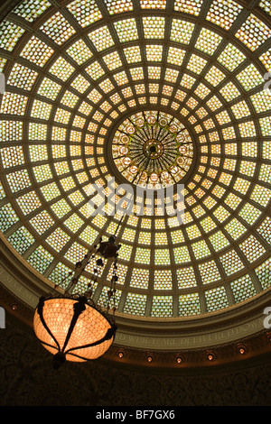 Tiffany stained glass dome, Chicago Cultural Center, Chicago, Illinois, United States of America - Stock Photo