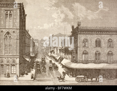 San Francisco, California, United States of America. Montgomery Street in the 1880s. - Stock Photo