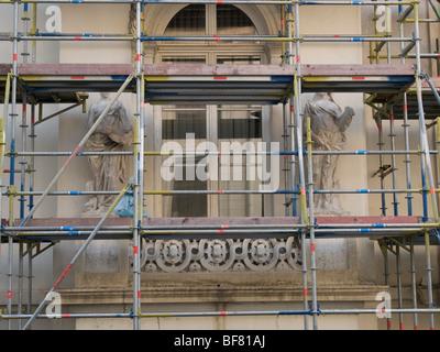 Complex building exterior restoration, Museum of Fine Arts, Brussels, belgium - Stock Photo