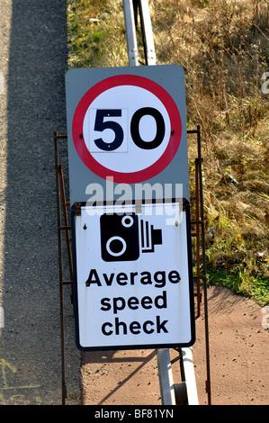 Average speed check sign on M40 motorway, Warwickshire, England, UK - Stock Photo