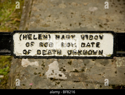Helen Mary MacGregor's Name plaque on Rob Roy's family grave - Stock Photo