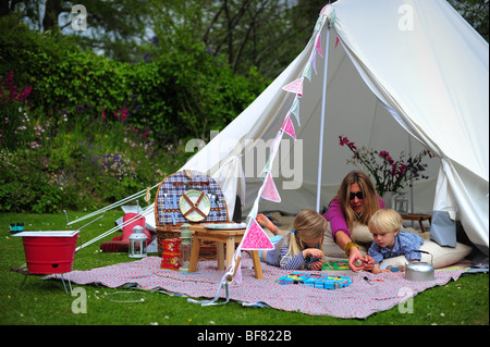 ... A family c&ing with a fabric tent in their garden in Devon UK - Stock & A fabric canvas tent in a garden in Devon UK with deckchair and ...