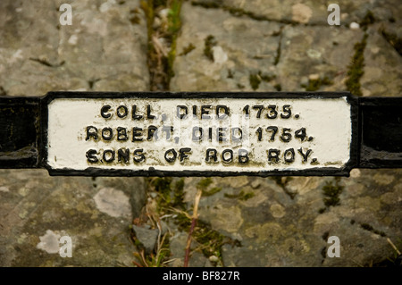 Coll and Robert Macgregor's name plaque on Rob Roy's family grave