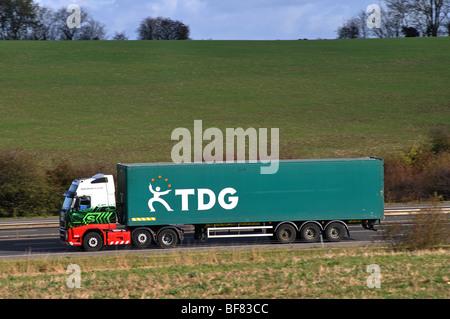 TDG lorry on M40 motorway, Warwickshire, England, UK - Stock Photo