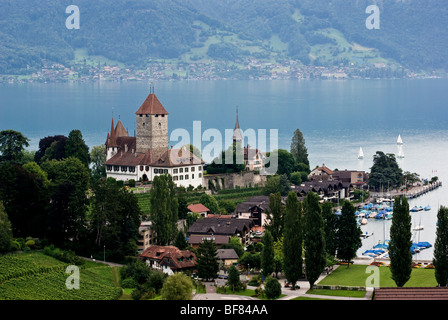 Castle in the town of Spiez on Lake Thun. Thunersee Switzerland - Stock Photo