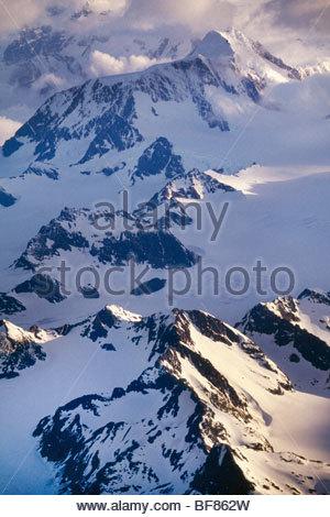 Mountains (aerial), South Georgia Island - Stock Photo