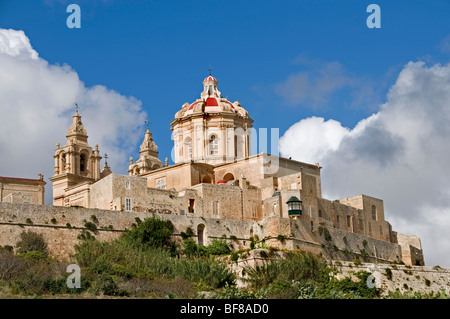 Mdina Rabat Malta fortified city town fort castle - Stock Photo