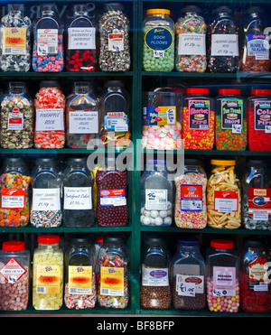 A display of sweet jars on shelves in a Sussex sweetshop, Great Britain England UK 2009 - Stock Photo