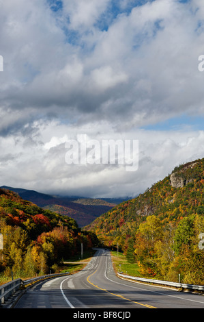 Highway 302 Winding through Crawford Notch in White Mountains National Forest in New Hampshire - Stock Photo